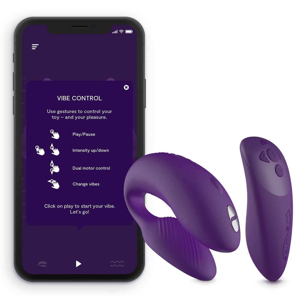 Simply touch your screen to vibrate your partners sex toy. (WeVibe)