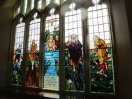 Stained glass windows at Mills Hill Baptist Church