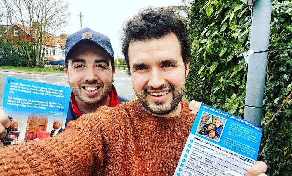 Gay Tory MP Elliot Colburn (right) with fiancé Jed Dwight (left).