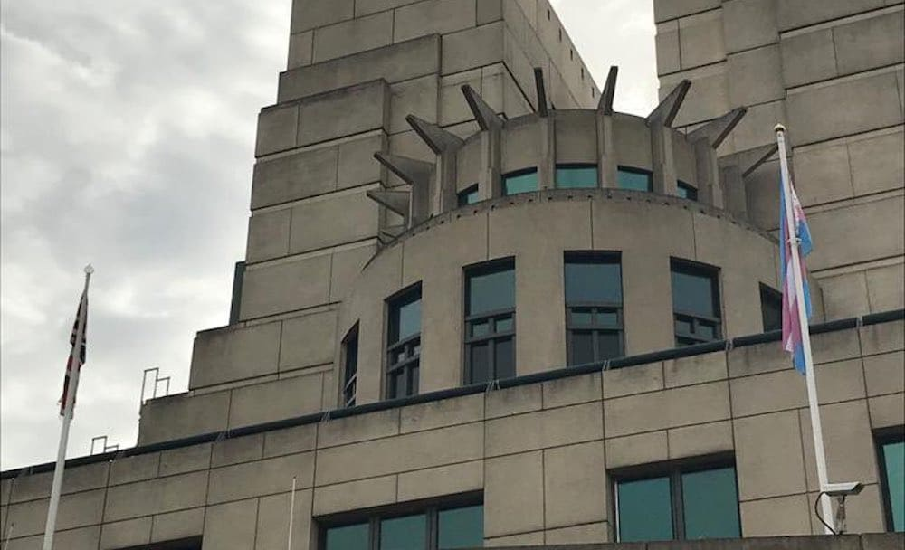 The trans Pride flag flying at the Vauxhall Cross MI6 headquarters