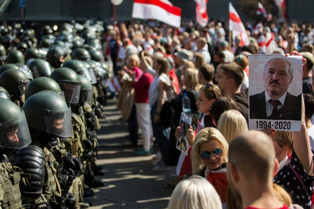 Belarusian servicemen block a street during an opposition supporters rally protesting against disputed presidential elections results in Minsk