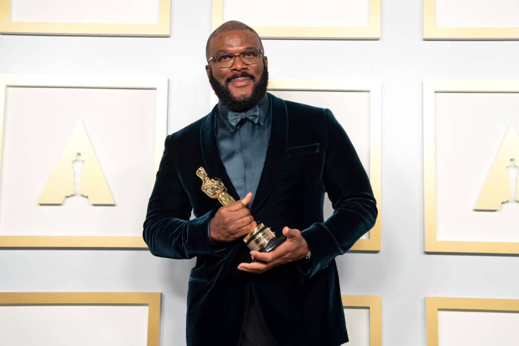 Tyler Perry, winner of the Jean Hersholt Humanitarian Award, poses in the press room