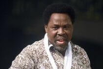 Nigerian pastor TB Joshua speaking at a New Year's memorial service