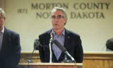 North Dakota governor Doug Burgum at a press conference February 2017