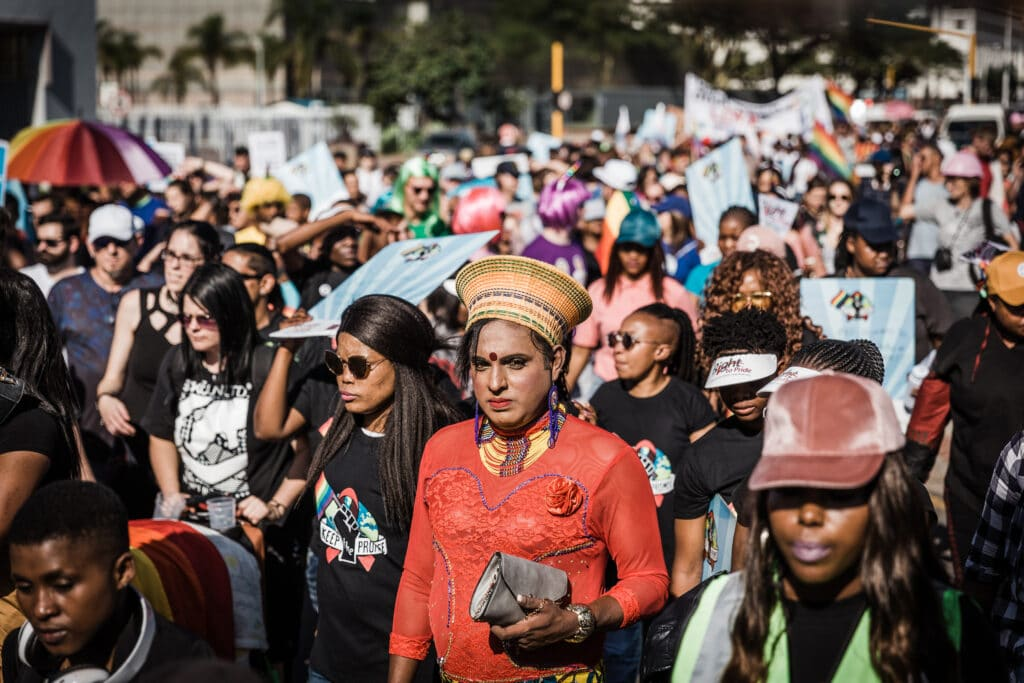 Members of the LGBT+ community march in the Pride parade in Durban, South Africa, in 2018