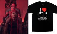 On the left: Lil Nas X gives Satan a lap dance. On the right: A black t-shirt which reads, 'I Love Jesus And That One Part In The 'Montero' Music Video By Lil Nas X When He Gets Nasty With The Devil Because It Was A Cool Form Of Self-Expression And Art'