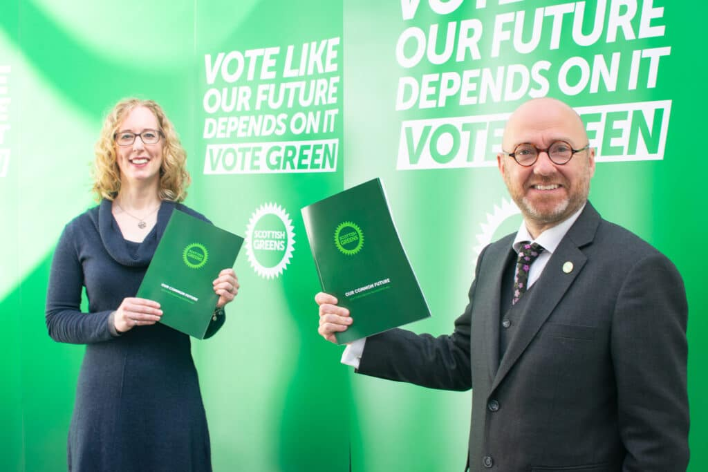 Scottish Green Party co-leaders Lorna Slater and Patrick Harvie
