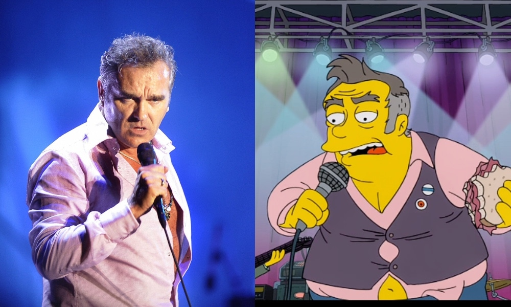 On the left: Morrissey in a pink shirt sings into the microphone. On the right: A character on The Simpsons in a pink shirt, holding a microphone and a hamburger while on stage