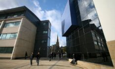 A shot of Queensgate Campus, including the Harold Wilson building (L) and the Creative Arts Building (R)