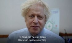 Boris Johnson speaks to the camera with the caption: 'Hi, folks. I'm here at Jesus House on a Sunday morning.'
