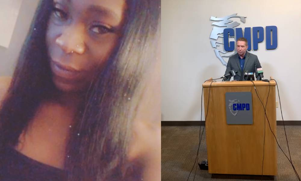 Photo of Jaida Peterson / Photo of a Charlotte police spokesperson speaking at a podium