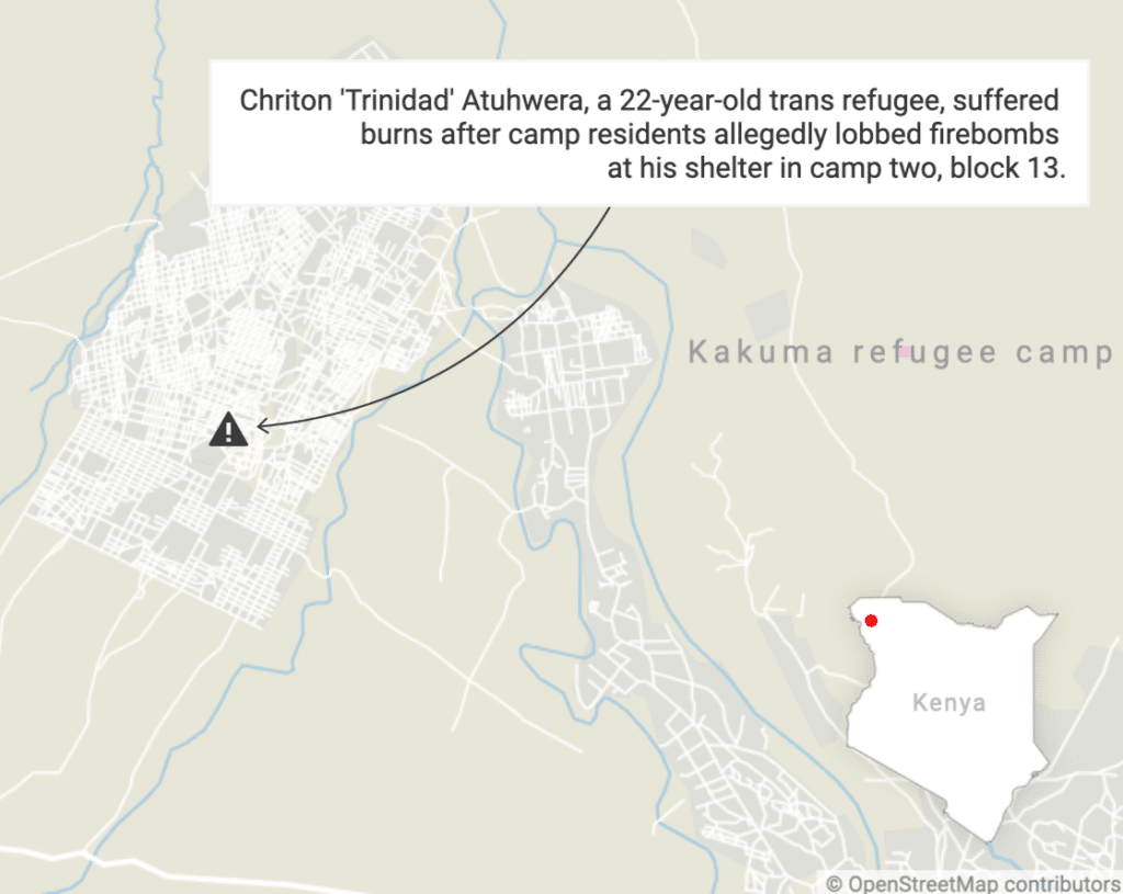 A map of Kakuma Refugee Camp with the caption 'Chriton 'Trinidad' Atuhwera, a 22-year-old trans refugee, suffered burns after camp residents allegedly lobbed firebombs at his shelter in camp two, block 13'.