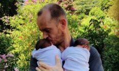Phillip Lühl and his twin daughters in South Africa