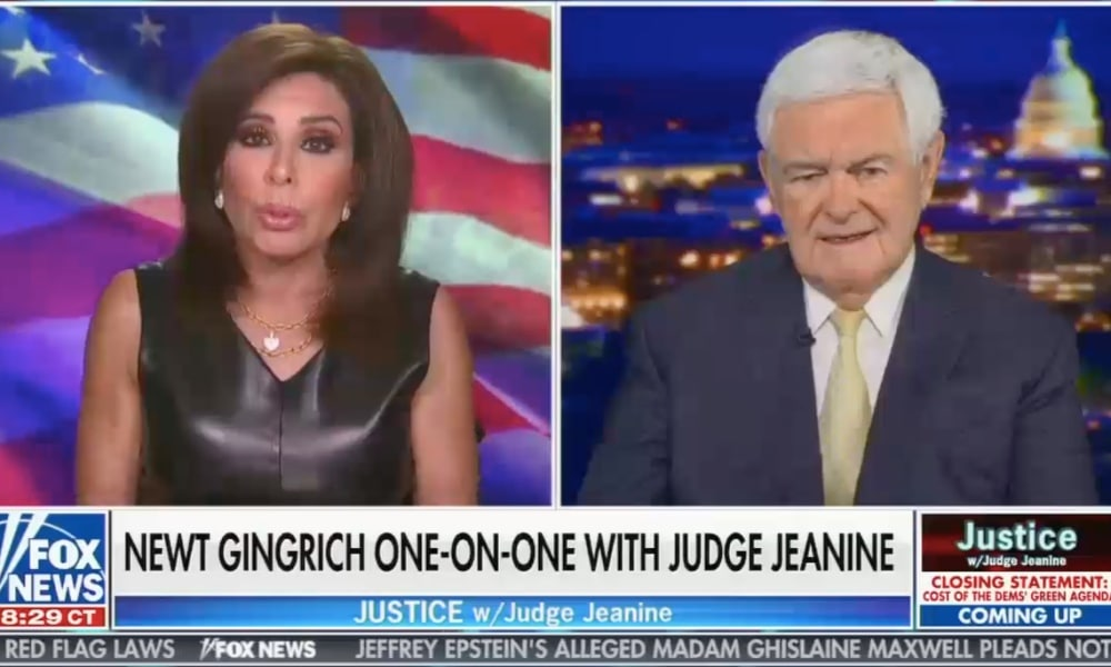 Jeanine Pirro (L) and Newt Gingrich side-by-side on Fox News