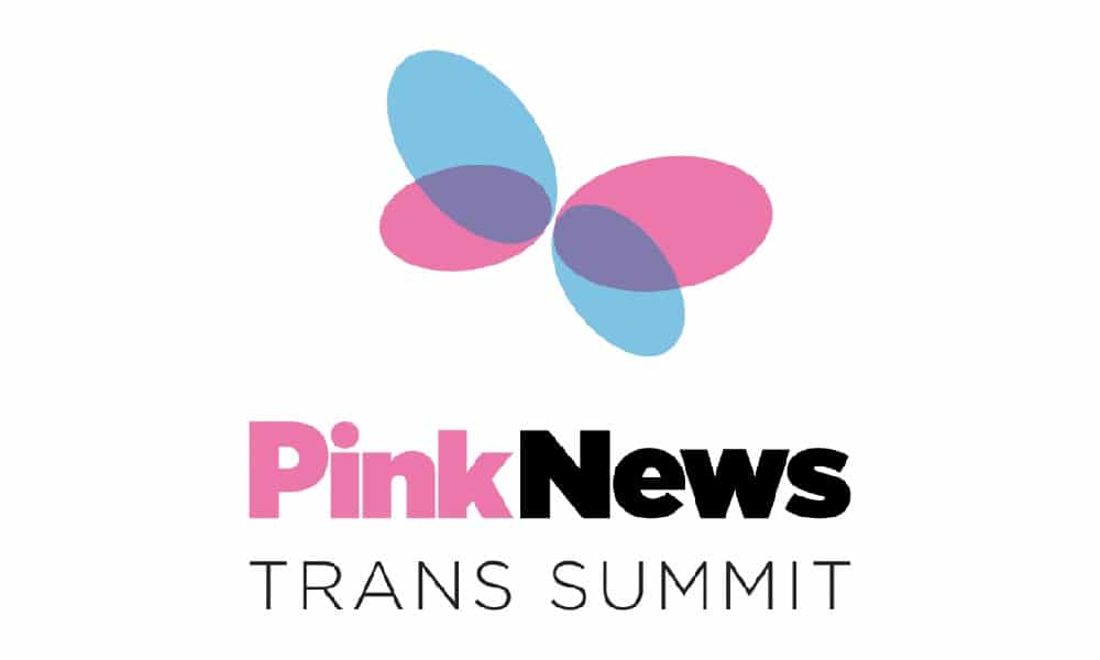 Text reading PinkNews Trans Summit with a logo of a butterfly in blue and pink