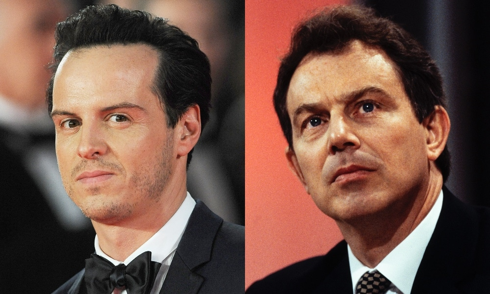 On the left: Headshot of Andrew Scott in a tuxedo. On the right: Headshot of Tony Blair in a suit.