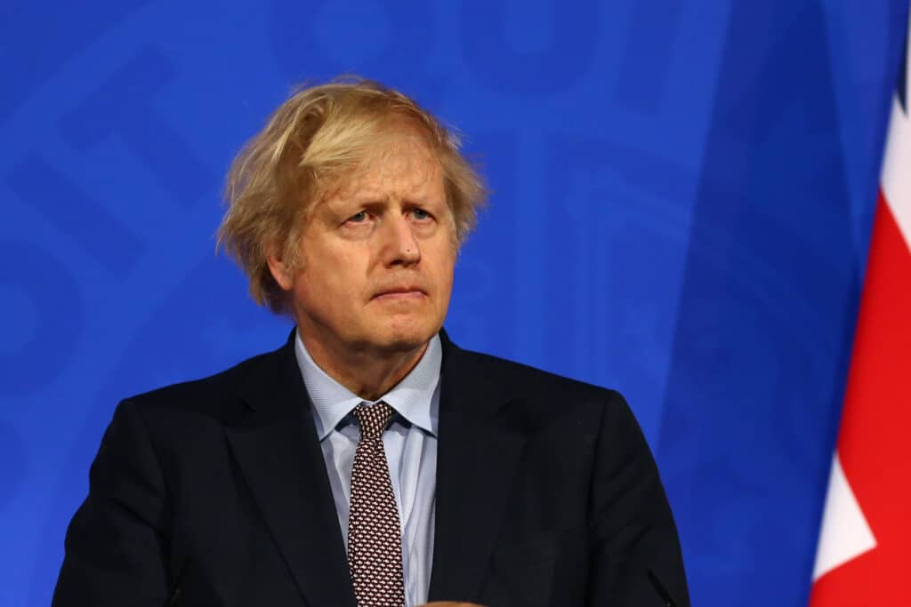 Boris Johnson in the government briefing room