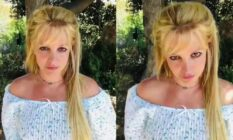 Side-by-side of two images of Britney Spears posing to the camera in front of bushes in a crop top