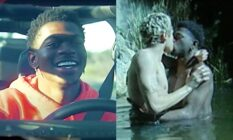 On the left: Lil Nas X smiles as he drives a car. On the right: Dominic Fike and Lil Nas X, shirtless, share a kiss while half-submerged in a river