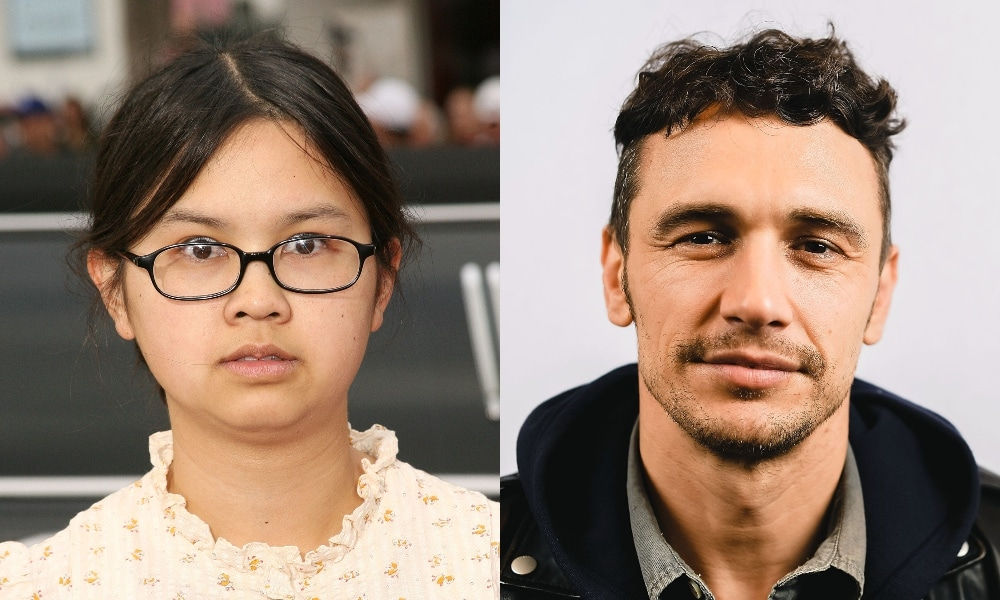On the left: A headshot of Charlyne Yi on the red carpet. On the right: A headshot of James Franco, smirking