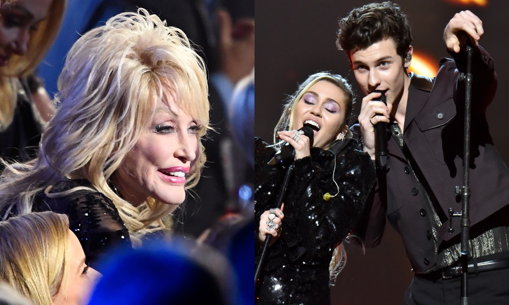 Dolly Parton sitting in a crowd / Miley Cyrus and Shawn Mendes singing for her