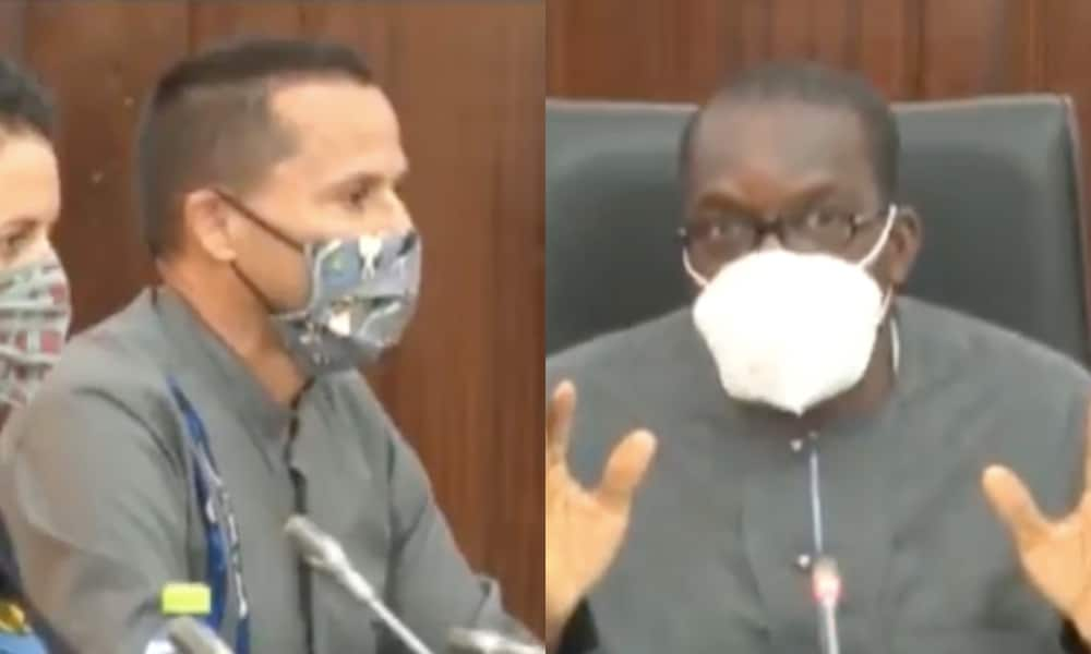 On the left: Andrew Barnes, wearing a face mask, speaks into a microphone. On the right: Alban Bagbin speaks into a microphone while sitting in a leather chair