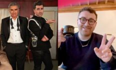 On the left: A promotional image for season six fo Schitt's Creek. On the right: Sam Smith gives a peace sign.