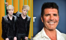 On the left: Jedward pose against an orange and green wall. On the right: Headshot of Simon Cowell smiling in a white shirt.
