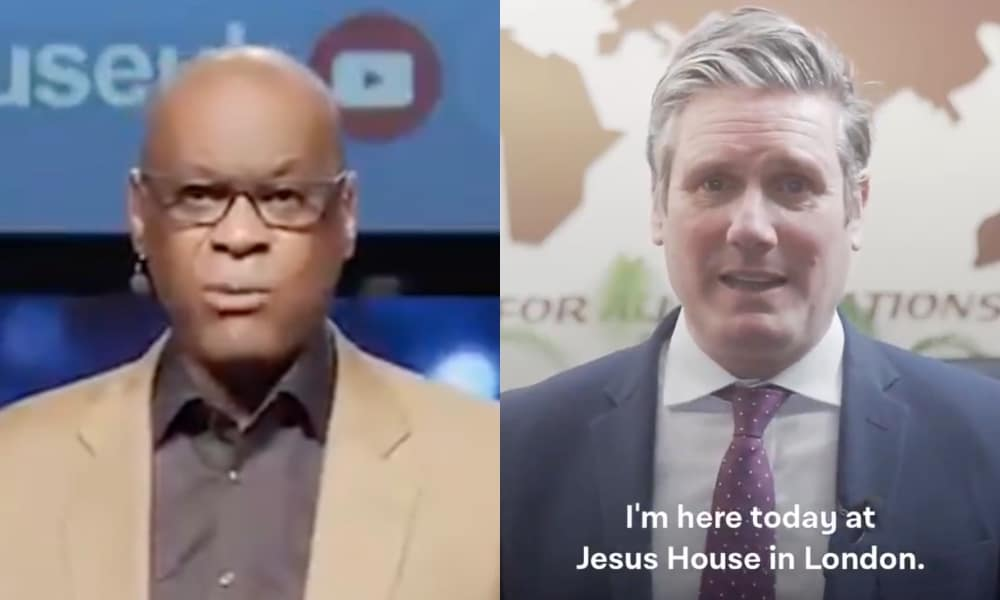 On the left: Jesus House senior pastor Agu Irukwu speaks to the camera in a tan suit. On the right: Keir Starmer speaks to the camera, saying: 'I'm here today at Jesus House in London'