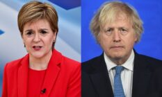 Two photos, one of Nicola Sturgeon in a red jacket and top, one of Boris Johnson in a black suit and blue tie
