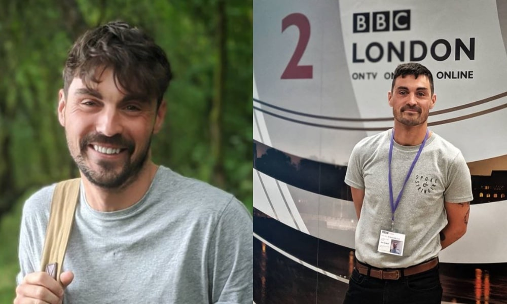 On the left: Dan O'Neill holds his bag strap in a grey t-shirt for a selfie. On the right: Dan O'Neill smiles against a wall that says 'BBC London' on it