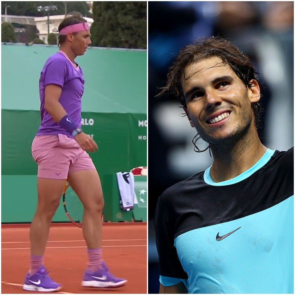 Rafael Nadal wore pink short shorts during his match. (Twitter/Clive Brunskill/Getty Images)