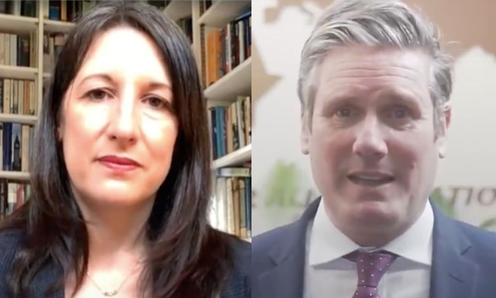 On the left: Rachel Reeves speaks to her laptop webcam in front of her bookshelf. On the right: Keir Starmer speaks wearing a suit.