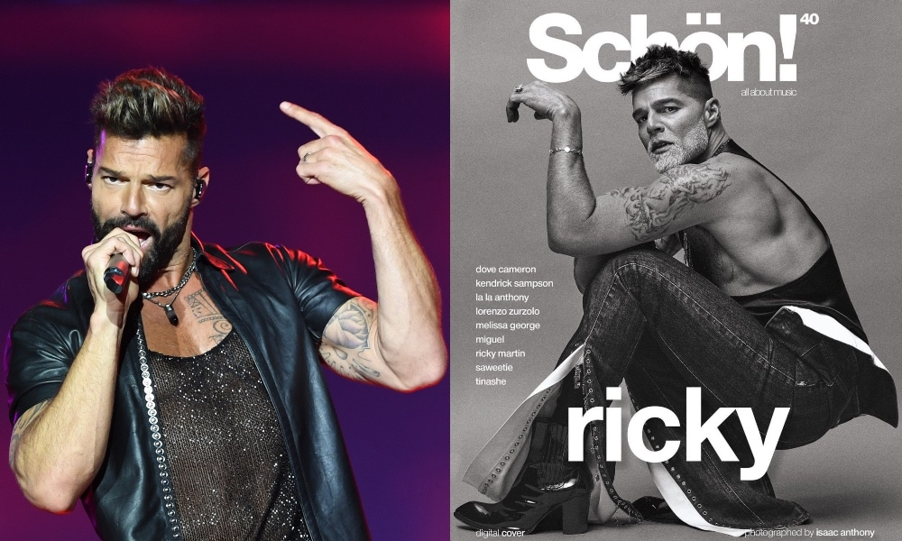 On the left: Ricky Martin in a mesh t-shirt and leather top sings into a microphone. On the right: Ricky Martin on the front cover of Schön! magazine.