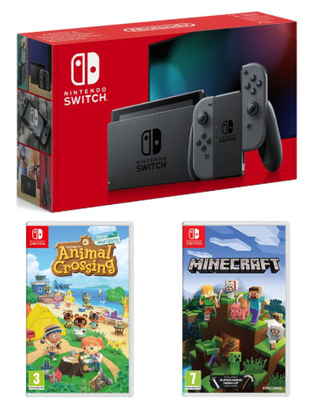 The Nintendo Switch console bundle with Animal Crossing and Minecraft.