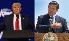 """Donald Trump and Florida governor Ron DeSantis, who he is """"considering"""" as his potential 2024 running mate"""