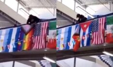 Side-by-side of photographs of a student at Ridgeline High School cutting down an LGBT+ flag