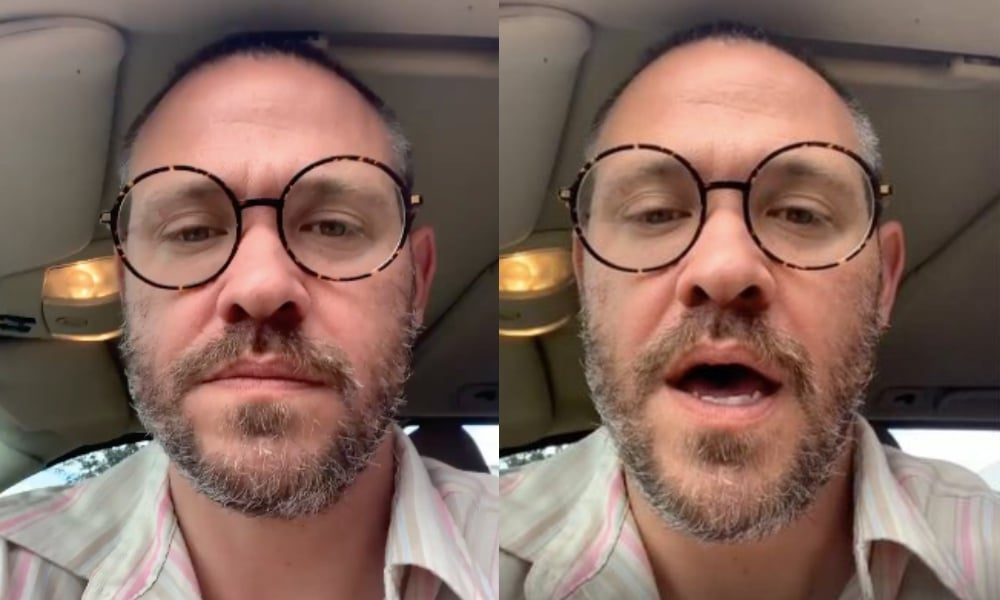 Will Young, with glasses, talks to the camera in his car