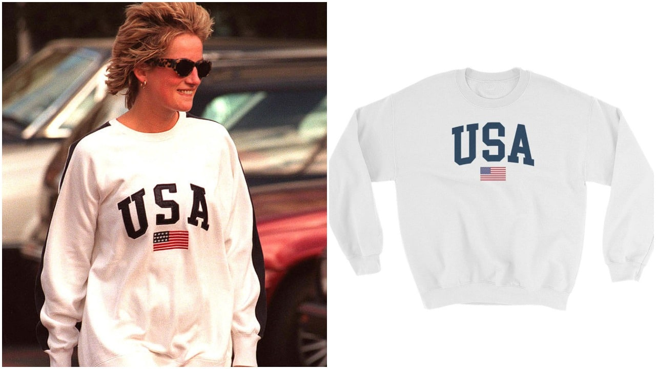 Fans can get the iconic 'USA' sweater regularly worn by Princess Diana. (Getty Images/Etsy)