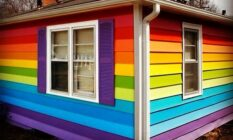House opposite Westboro Baptist Church painted in Pride flag colours
