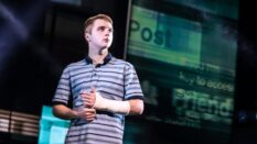 Sam Tutty plays the title role in Dear Evan Hansen on the West End. (Matthew Murphy)