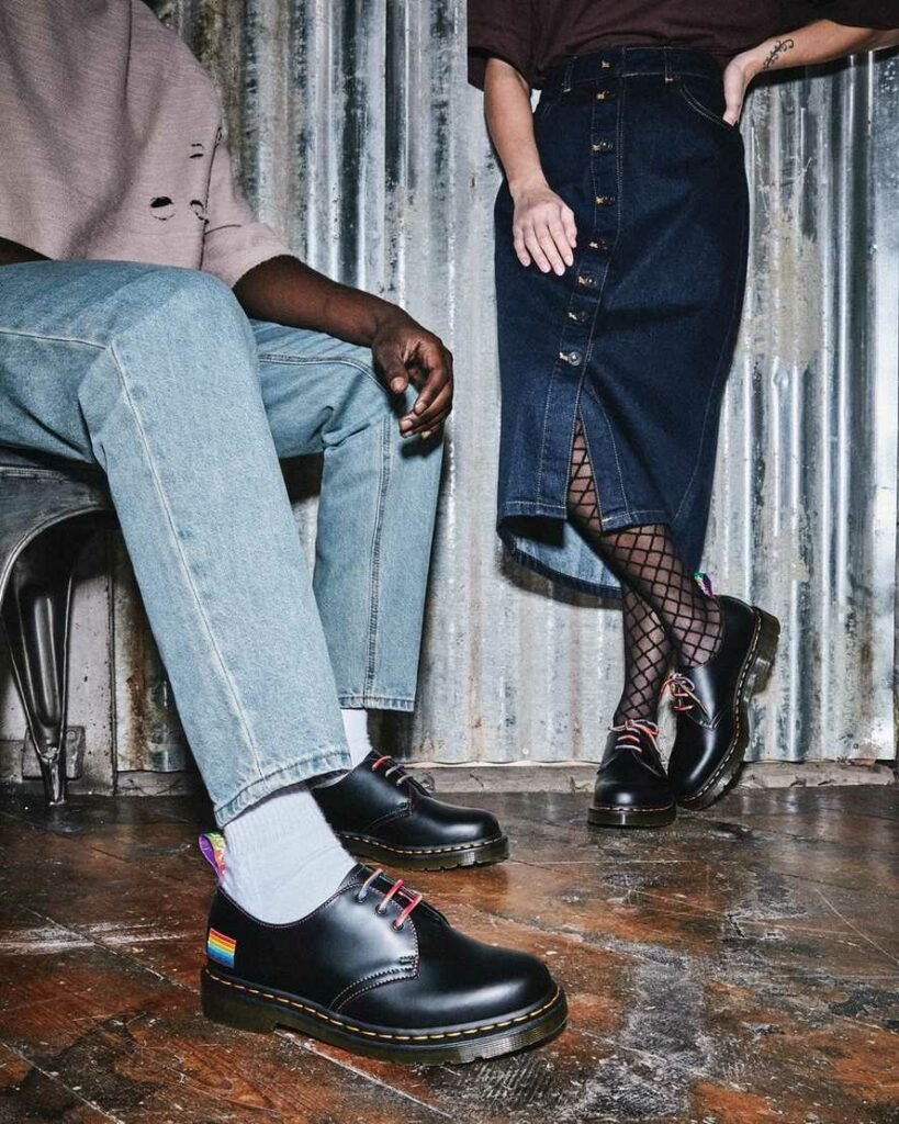 The new Pride shoes in Dr Martens' classic 1461 design. (Dr Martens)