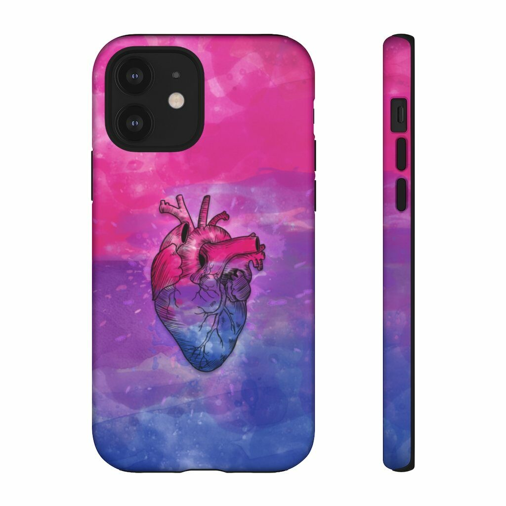 A phone case with the colours of the bi flag. (PinkNews Shop)