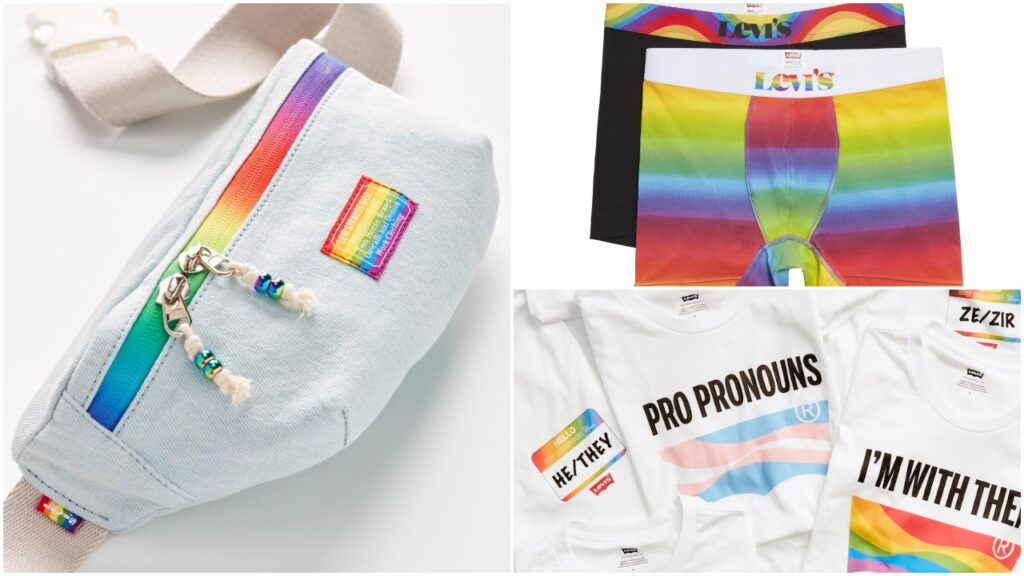 The collection features bags, underwear and t-shirts that can be personalised. (Levi's)