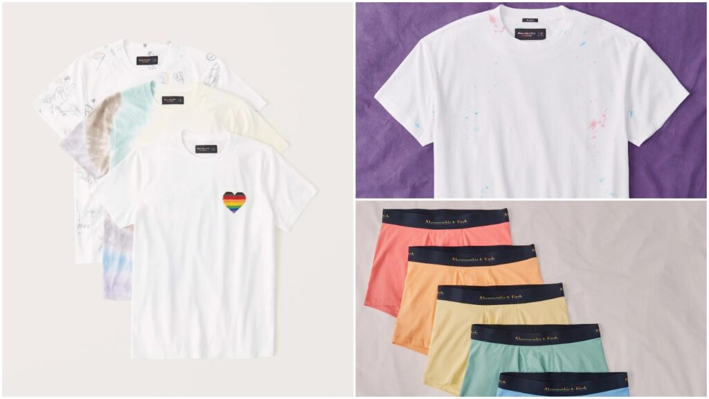 The Abercrombie and Fitch Pride collection features tie-dye pieces and rainbow underwear. (abercrombie.com)