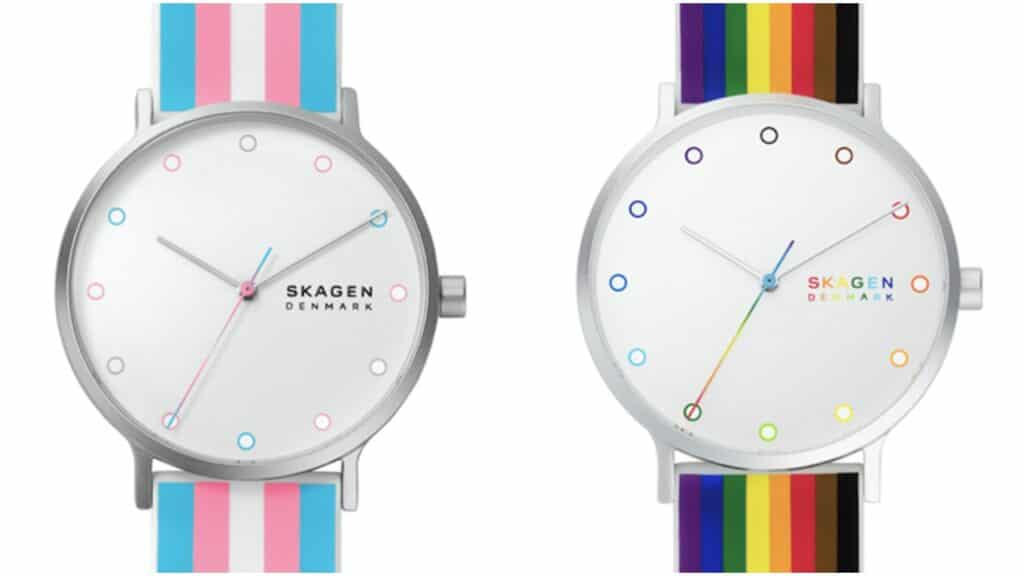 The collection features the Aaren watch with designs in the Pride flag colours. (Skagen)
