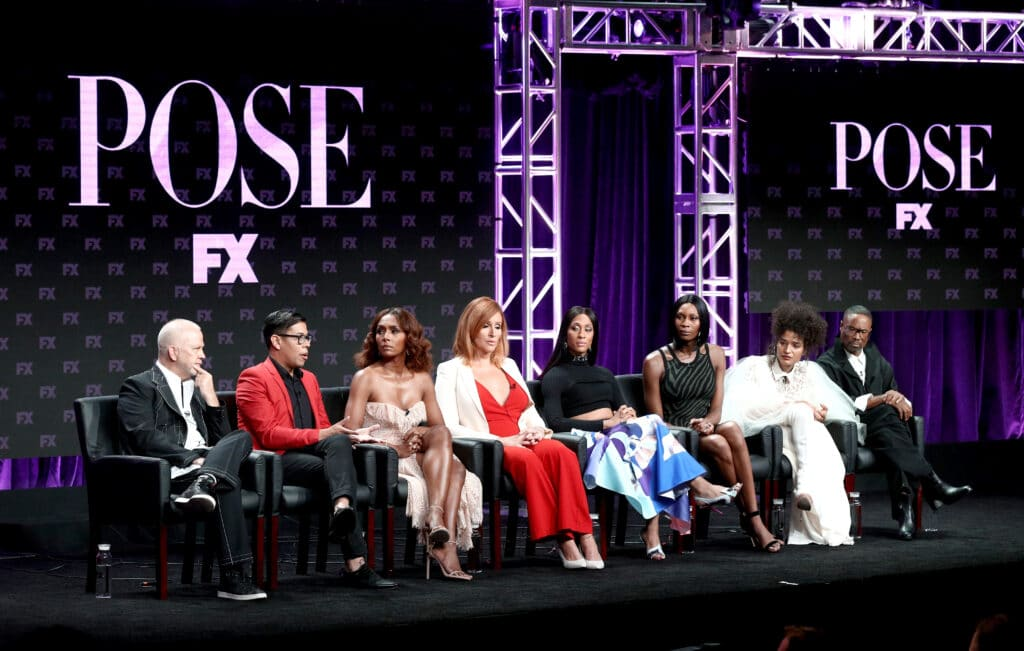 (L-R) Co-creator/executive producer/writer/director Ryan Murphy, Co-creator/executive producer/writer Steven Canals, Producer/writer/director Janet Mock, Producer/writer Our Lady J, Actors Mj Rodriguez, Dominique Jackson, Indya Moore, and Billy Porter