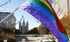 Pride flag flies Historic Mormon Temple