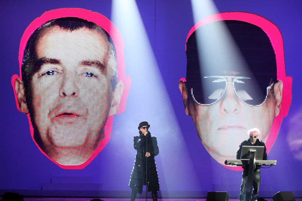 Neil Tennant and Chris Lowe of The Pet Shop Boys perform at the Brit Awards 2009