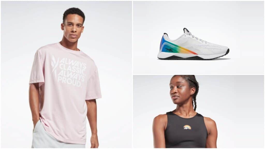 The US store features t-shirts, training shoes and crop tops in the Pride collection. (Reebok)